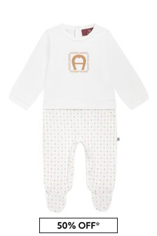 Aigner Baby White Cotton Babygrow