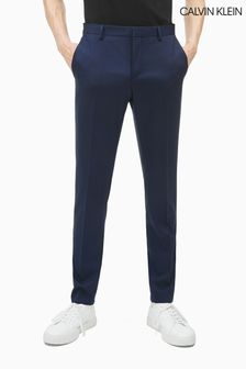 Calvin Klein Blue Stretch Wool Slim Trousers