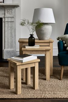 Oak Effect Malvern Nest Of 3 Tables