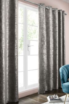 Metallic Geo Silver Grey Curtains