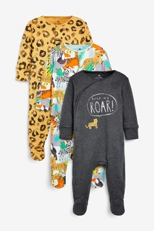 Ochre 3 Pack Leopard Jungle Sleepsuits (0mths-2yrs)