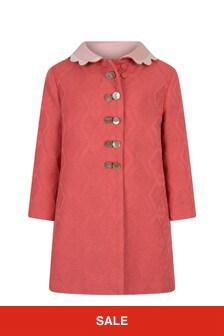 Baby Girls Fuchsia Jacquard Coat