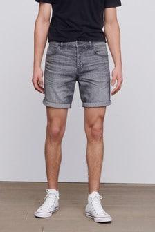 Washed Grey Straight Fit Denim Shorts