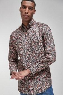 Navy Regular Fit Single Cuff Floral Print Shirt