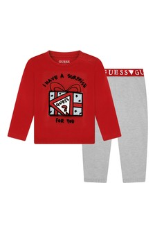Baby Boys Red & Grey Cotton Joggers Set