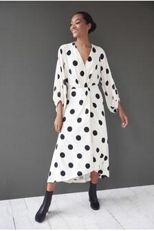 Cream Spot Twist Front Midi Dress
