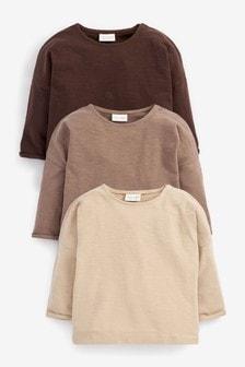 Chocolate 3 Pack Long Sleeve T-Shirts (0mths-2yrs)