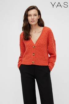 Y.A.S Orange Cropped Knitted Cardigan