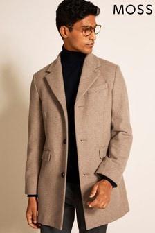Moss London Slim Fit Oatmeal Overcoat