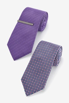 Purple Ties Two Pack With Tie Clip