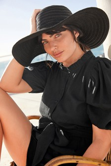 Black Weave Wide Brim Hat
