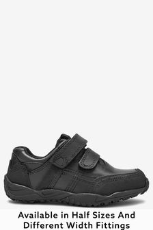 Black Standard Fit (F) Leather Double Strap Shoes