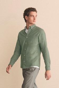 Green Regular Fit Long Sleeve Oxford Shirt