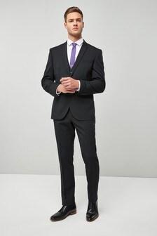 Black Slim Fit Wool Blend Stretch Suit: Jacket