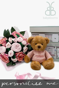Babyblooms Luxury Pink Baby Clothes Bouquet & Personalised Charlie Bear Soft Toy