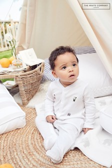 The White Company White London Bear Embroidered Sleepsuit