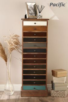 Pacific Lifestyle Pine Wood Multicoloured 13 Drawer Unit