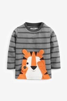 Grey Stripe Tiger Appliqué Long Sleeve T-Shirt (3mths-7yrs)