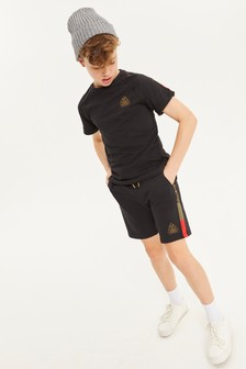 Black Taped Shorts And T-Shirt Set (3-16yrs)