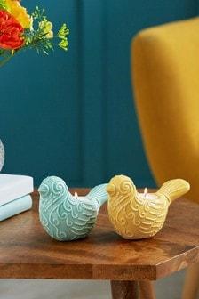 Set of 2 Ceramic Bird Tea Light Holders