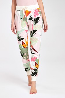 Ecru Palm Print Joggers