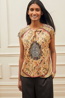 Scarf Print Knot Front Detail Top