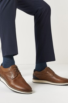 Tan Leather Smart Casual Wedge Derby Shoes