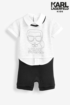Karl Lagerfeld Kids Grey Babygrow
