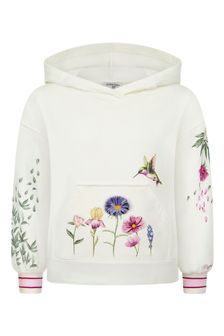 Girls Cream Cotton Hoody