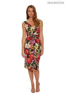 Gina Bacconi Karesa Scuba Crepe Floral Wrap Dress