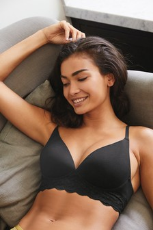 Black Daisy Lightly Padded Organic Cotton Wire Free Bra