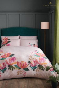 Sara Miller Pink Peony Petals Cotton Duvet Cover And Pillowcase Set
