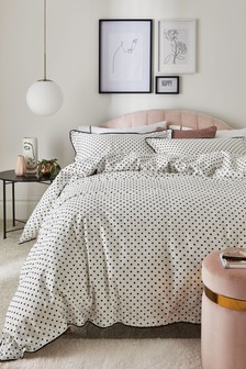 100% Cotton Sateen 200 Thread Count Square Polka Duvet Cover And Pillowcase Set