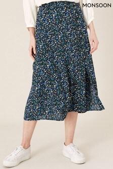 Monsoon Black Printed Midi Skirt