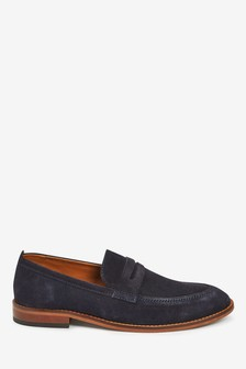 Navy Suede Contrast Loafers