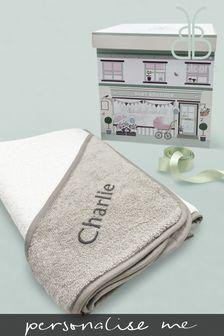 Babyblooms Personalised Grey Luxury Hooded Towel New Baby Gift