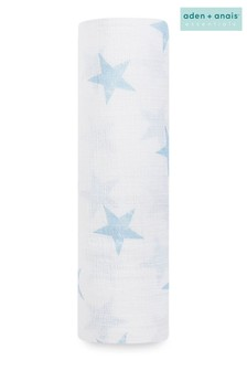 aden + anais Essentials Blue Muslin Swaddle Blanket