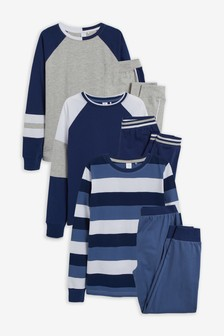 Blue Stripe 3 Pack Pyjamas (3-16yrs)