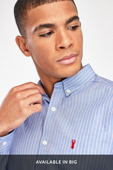 Blue/Pink Slim Fit Stripe Stag Shirt