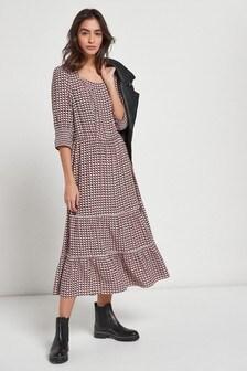 Red Geo Print Tiered Dress