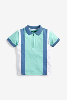 Multi Short Sleeve Vertical Stripe Zip Polo (3mths-7yrs)