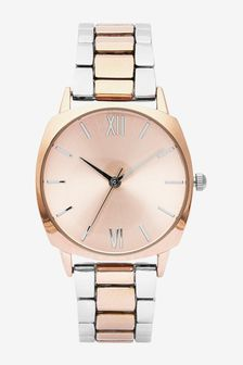 Silver Tone/Rose Gold Tone Rounded Square Case Watch