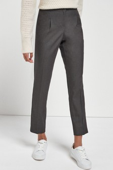 Charcoal Elastic Back Tapered Trousers