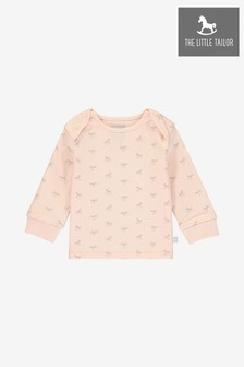 The Little Tailor Pink All Over Print Rocking Horse Jersey Top