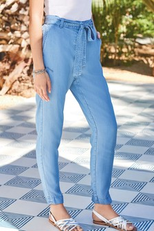 Blue TENCEL™ Tapered Trousers