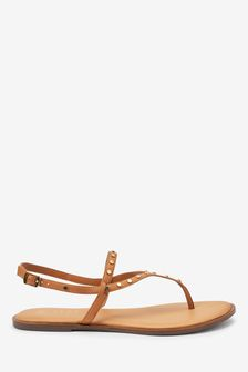 Tan Extra Wide Fit Forever Comfort® Studded Toe Thong Sandals