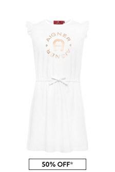 فستان قطن أبيض بناتي منAigner