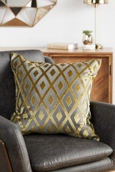 Gold Collection Luxe Diamond Geo Cut Velvet Cushion
