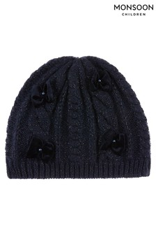 Monsoon Recycled Navy Sparkle Velvet Bow Beanie