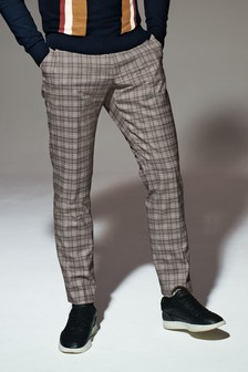 Light Grey Check Tapered Slim Fit Trousers